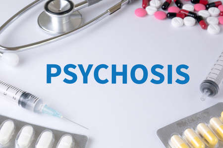 psychosis: PSYCHOSIS Text, On Background of Medicaments Composition, Stethoscope, mix therapy drugs doctor flu antibiotic pharmacy medicine medical Stock Photo