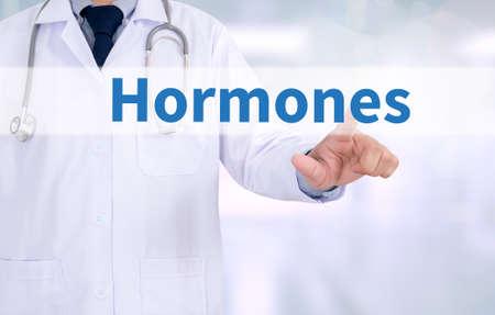 hormonas: Hormonas desarrollo de negocios Medicina médico que trabaja con el interfaz de ordenador como médica Foto de archivo
