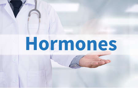 Hormones Business development Medicine doctor hand working Banco de Imagens
