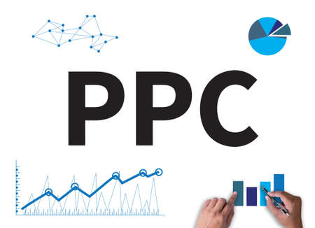adwords: PPC - Pay Per Click concept businessman work on white broad, top view Stock Photo