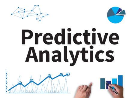 Predictive Analytics businessman work on white broad, top view