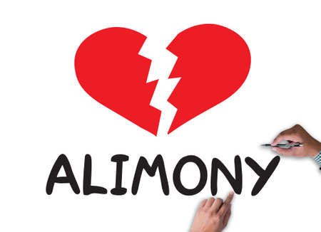 alimony: Alimony businessman work on white broad, top view Stock Photo