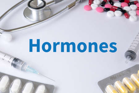 hormonal: Hormones Business development Text, On Background of Medicaments Composition, Stethoscope, mix therapy drugs doctor flu antibiotic pharmacy medicine medical