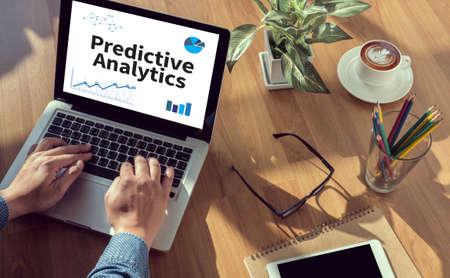 predictive: Predictive Analytics man hand on table Business, coffee, Split tone