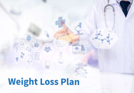 weight loss plan: weight loss plan Medicine doctor working with computer interface as medical