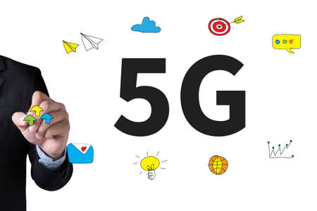 5g: 5G and Businessman drawing Landing Page on white background
