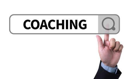 man pushing: COACHING   (Coaching Guide Instructor Leader) man pushing (touching) virtual web browser address bar or search bar Stock Photo