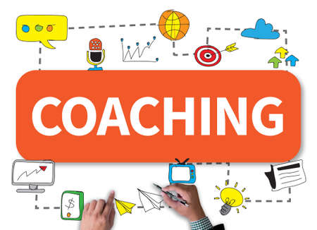 the instructor: COACHING   (Coaching Guide Instructor Leader) businessman work on white broad, top view Stock Photo