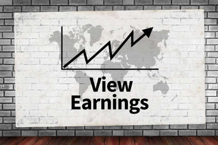 ganancias: View Earnings  on brick wall and poster concept
