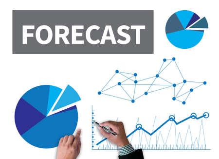 foretell: FORECAST ( Estimate Future Planning Predict Strategy) businessman work on white broad, top view