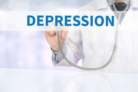 major depression: DEPRESSION Medicine doctor hand working on virtual screen