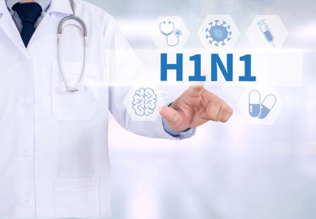 h1n1 vaccines: H1N1 Medicine doctor working with computer interface as medical