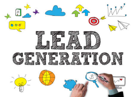 lead: LEAD GENERATION businessman work on white broad, top view
