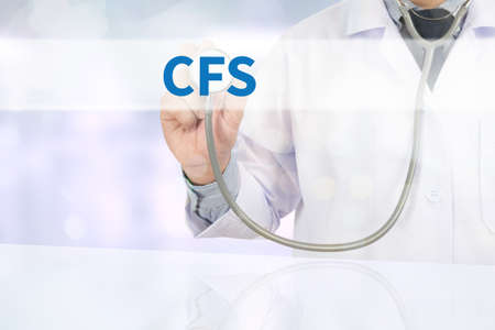 depletion: CFS  (Consolidated Financial Statement) Medicine doctor hand working on virtual screen Stock Photo