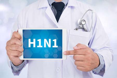 h1n1 vaccination: H1N1 Doctor holding  digital tablet