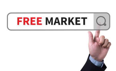 unfair rules: FREE MARKET man pushing (touching) virtual web browser address bar or search bar
