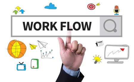 implement: WORK FLOW   (Work Flow Efficiency Implement Process) man pushing (touching) virtual web browser address bar or search bar