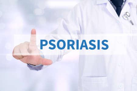 psoriasis: PSORIASIS Medicine doctor working with computer interface as medical