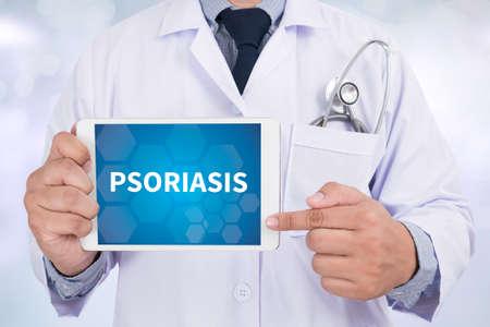 psoriasis: PSORIASIS Doctor holding  digital tablet