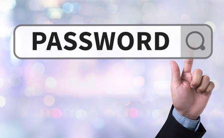man pushing: PASSWORD 123456 man pushing (touching) virtual web browser address bar or search bar on blurred abstract background Stock Photo