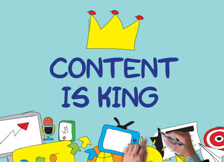 CONTENT IS KING  businessman work on white broad, top view