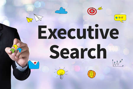 executive search: Executive Search  and Businessman drawing Landing Page on white background Stock Photo
