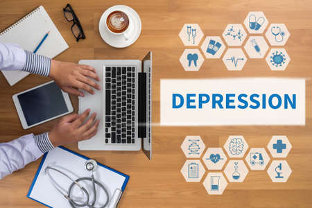 major depression: DEPRESSION Professional doctor use computer and medical equipment all around, desktop top view, coffee