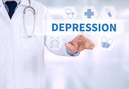 major depression: DEPRESSION Medicine doctor working with computer interface as medical Stock Photo