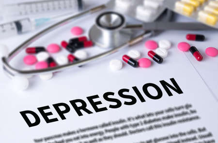 major depression: DEPRESSION and Background of Medicaments Composition, Stethoscope, mix therapy drugs doctor and selectfocus Stock Photo