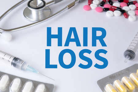 radiotherapy: HAIR LOSS Text, On Background of Medicaments Composition, Stethoscope, mix therapy drugs doctor flu antibiotic pharmacy medicine medical