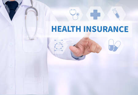 HEALTH INSURANCE Medicine doctor working with computer interface as medical