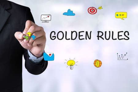 credible: GOLDEN RULES and Businessman drawing Landing Page on blackboard