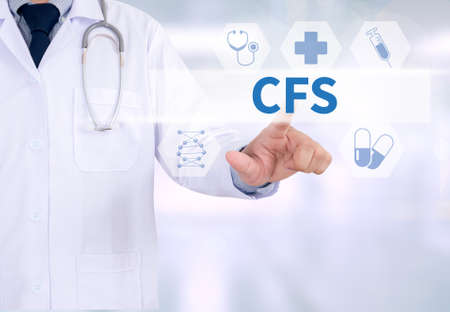 depletion: CFS  (Consolidated Financial Statement) Medicine doctor working with computer interface as medical