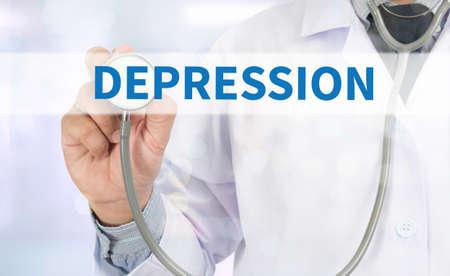 major depression: DEPRESSION Medicine doctor hand working on virtual screen