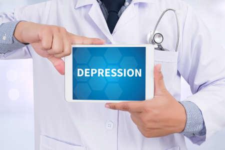 major depression: DEPRESSION Doctor holding  digital tablet