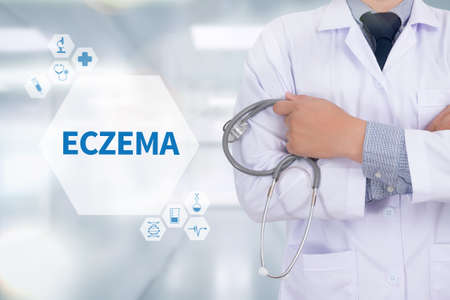 atopic: ECZEMA Medicine doctor working with computer interface as medical Stock Photo