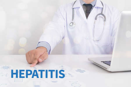HEPATITIS  Medicine doctor working with computer interface as medical