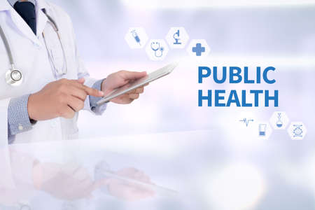 PUBLIC HEALTH Professional doctor use computer and medical equipment Stock Photo