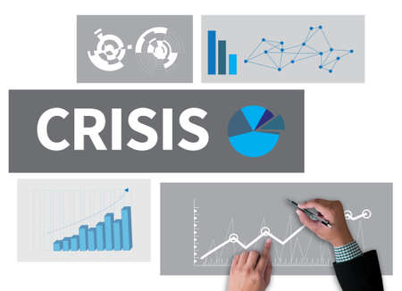 broad: CRISIS  (Economics Financial  Risk Strategy ) businessman work on white broad, top view