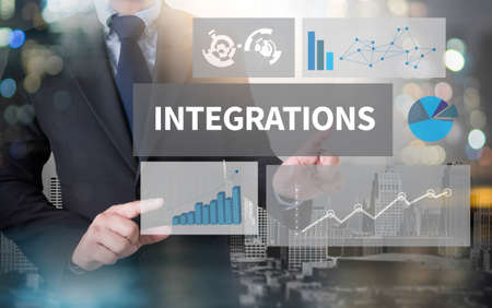 to incorporate: INTEGRATIONS and businessman working with modern technology