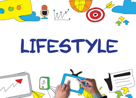 situation: Lifestyle your Way of Life Habits Situation Culture up to you businessman work on white broad, top view Stock Photo