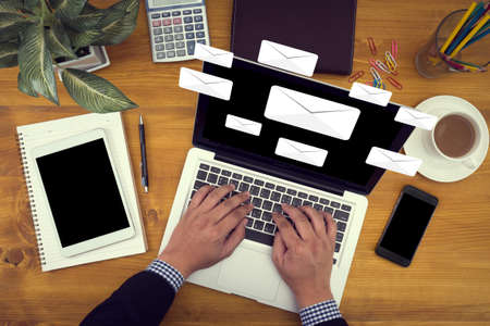 MAIL  Text on Message Online Chat Social computer Stock Photo