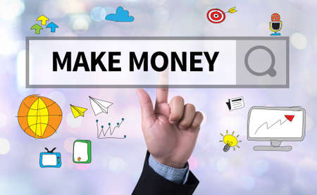 man pushing: MAKE MONEY man pushing (touching) virtual web browser address bar or search bar on blurred abstract background