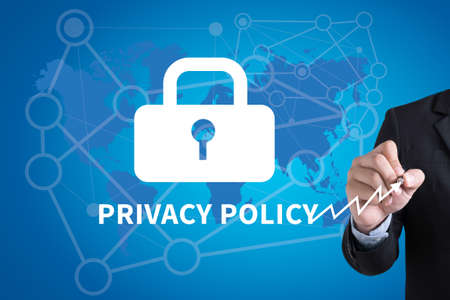 private security: PRIVACY POLICY   Private Security Protection) Businessman hand writing with black marker on white background