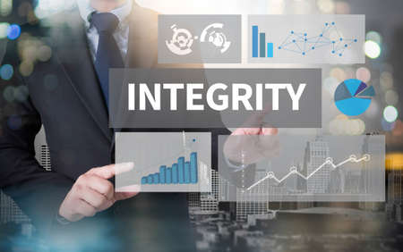 INTEGRITY   Ethics Loyalty Moral Motivation and businessman working with modern technology