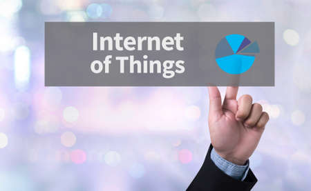 man pushing: Internet of Things man pushing (touching) virtual web browser address bar or search bar on blurred abstract background