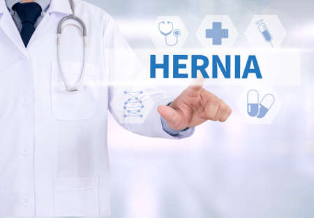 hernia: HERNIA Medicine doctor working with computer interface as medical