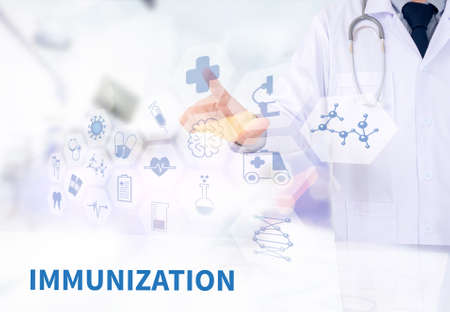 IMMUNIZATION Medicine doctor working with computer interface as medical