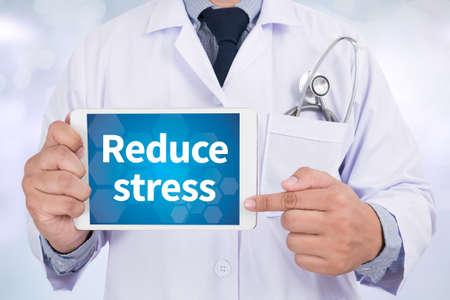 doctor stress: Reduce stress Doctor holding  digital tablet