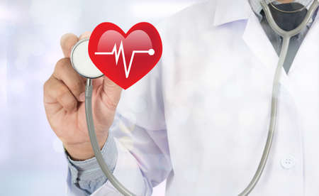 palpitations: HEART ATTACK Medicine doctor hand working on virtual screen